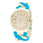 Sofia by Sofia Vergara Ladies' Gold & Blue Enamel Design Link Bracelet Watch w/ White Round Dial at Kmart.com