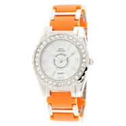 Sofia by Sofia Vergara Ladies' Orange & Silver-Tone Bracelet Watch w/ White Round Dial, Crystal Bezel at Kmart.com