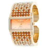 Sofia by Sofia Vergara Ladies' Orange Crystals & Gold-Tone Bangle Watch w/ Rectangle Dial at Kmart.com