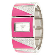 Sofia by Sofia Vergara Ladies' Pink Crystal & Silver-Tone Bracelet Watch w/ Rectangle Dial at Kmart.com