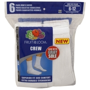 Fruit of the Loom Men's White Crew Sport Sock 6 Pack at Kmart.com