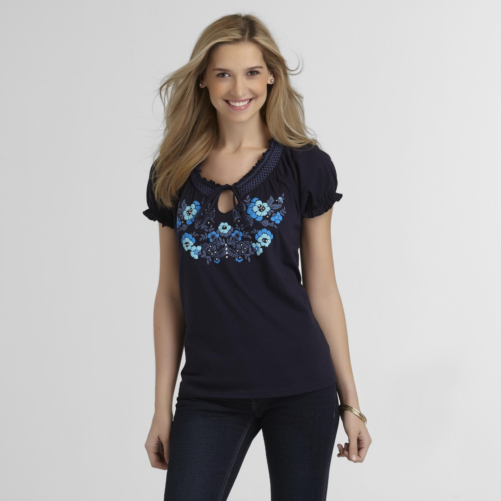 Basic Editions Women's Peasant Blouse - Rhinestones at Kmart.com