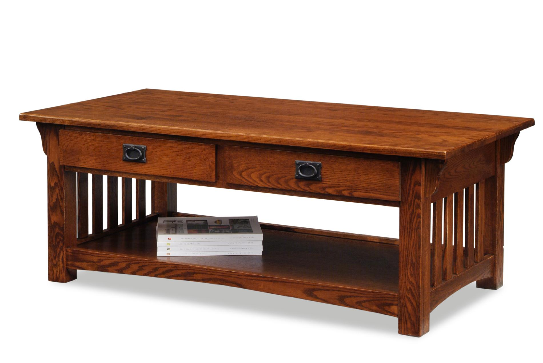Image of Leick 8204 Mission Coffee Table with Drawers and Shelf - Medium Oak, Brown