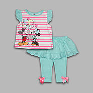 Disney Baby Newborn Girl's 2 Pc Top and Leggings Eyelet Mickey and Minnie Set at Kmart.com
