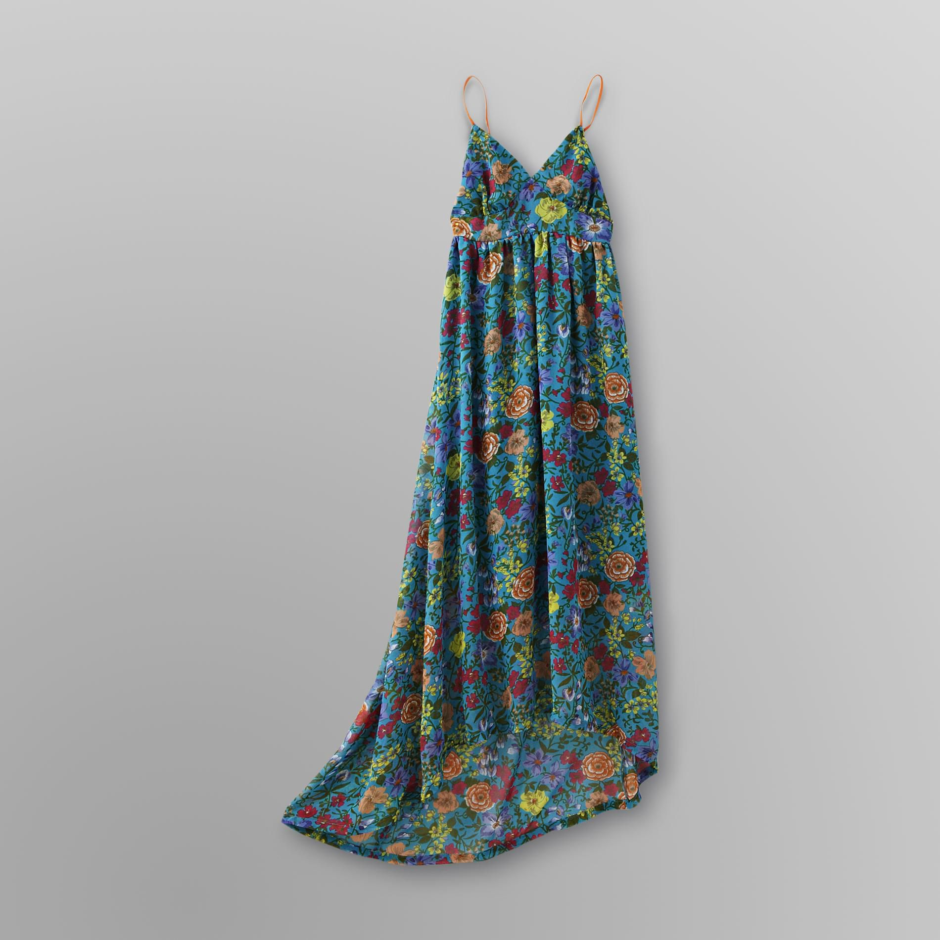 Junior's Chiffon Maxi Floral Dress