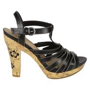 Bongo Women's Cork Heel Sandal Catalina - Black at Sears.com