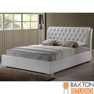Baxton Bianca White Modern Bed with Tufted Headboard (King Size) at Kmart.com