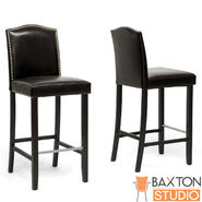 Baxton Libra Dark Brown Modern Bar Stool with Nail Head Trim-set of 2 at Kmart.com