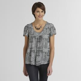 Jaclyn Smith Women's Ruffled Crepe Top - Tribal Pattern at Kmart.com