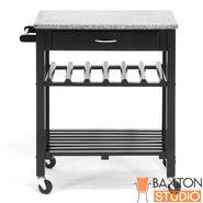 Baxton Quebec Black Wheeled Modern Kitchen Cart with Granite Top at Kmart.com