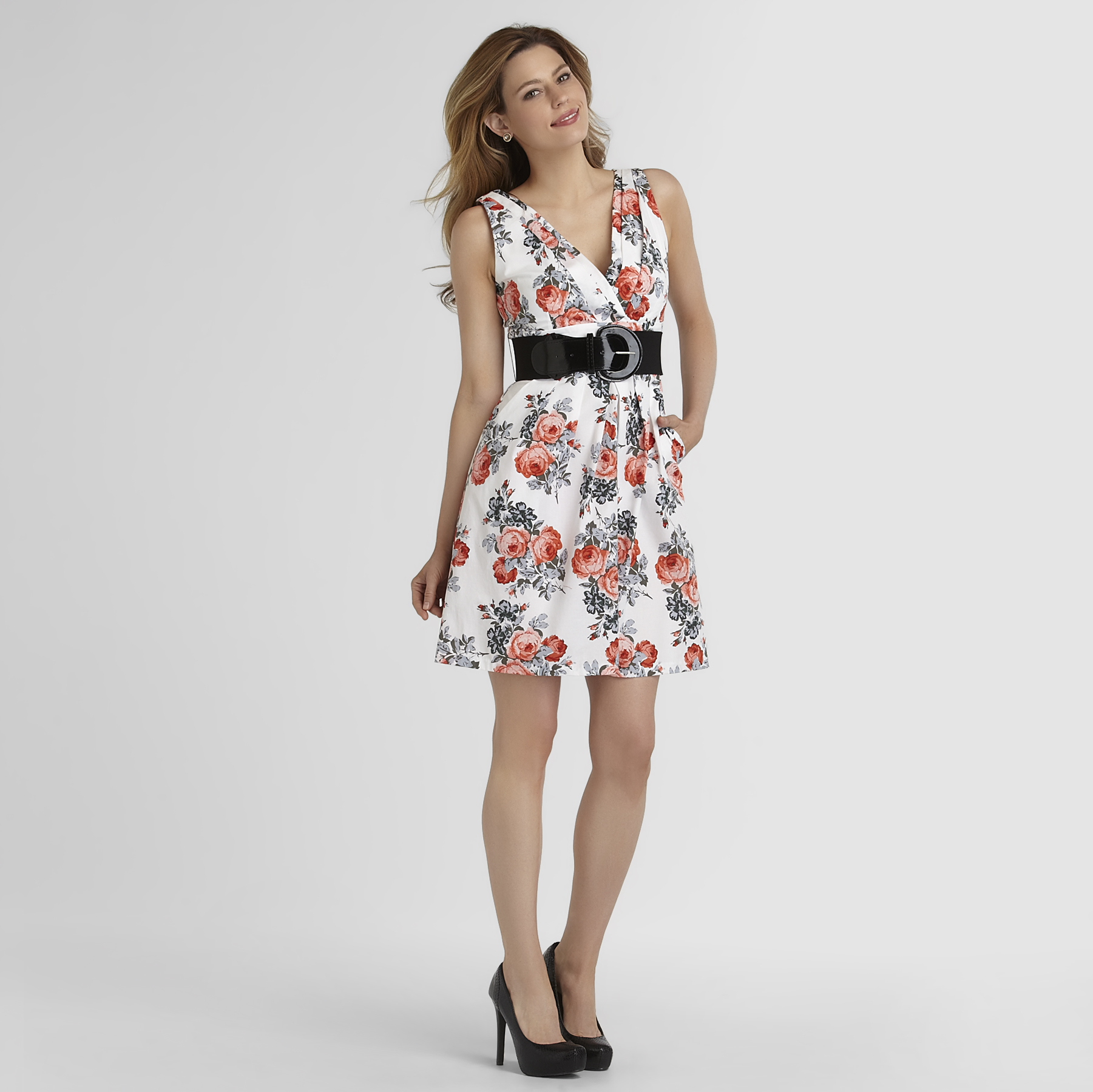 Women's Sleeveless Belted Dress - Floral at Sears.com