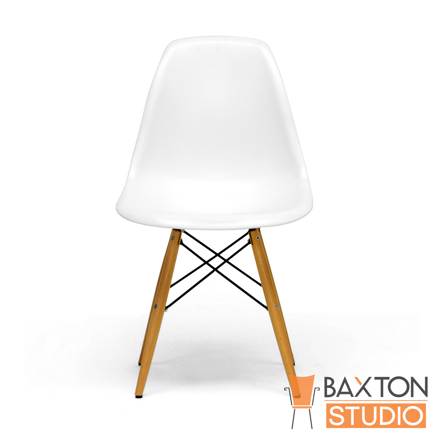 Baxton Studio Lac Set of 2 Modern Plastic Side Chair with Wood Legs - White