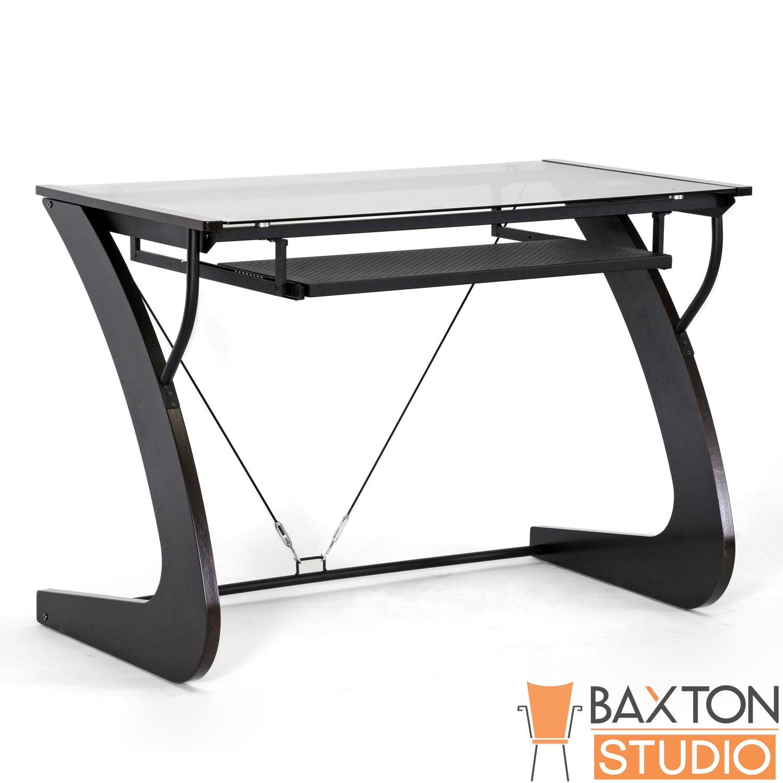 Baxton Studio Sculpten Dark Brown Modern Computer Desk