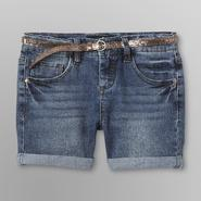 Vanilla Star Girl's Cuffed Denim Shorts & Glitter Skinny Belt at Kmart.com