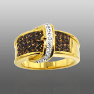 Chocolate Elegance Gold Over Bronze Brown & White Crystal Buckle Ring at Kmart.com