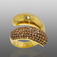 Chocolate Elegance Gold Over Bronze Brown & White Crystal Large Bypass Ring at Kmart.com