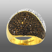 Chocolate Elegance Gold Over Bronze Brown & White Crystal Dome Ring at Kmart.com