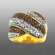 Chocolate Elegance Gold Over Bronze Brown & White Crystal Wavy Stripe Ring at Kmart.com