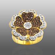 Chocolate Elegance Gold Over Bronze Brown & White Crystal Flower Ring at Kmart.com