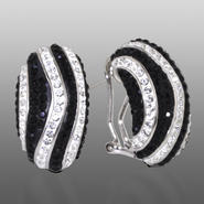 Shades Of Elegance Platinum Over Bronze Black & White Crystal Wavy Stripe Earrings at Kmart.com
