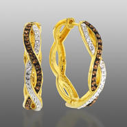 Chocolate Elegance Gold Over Bronze Brown & White Crystal intertwined Hoops at Kmart.com