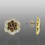 Chocolate Elegance Gold Over Bronze Brown & White Crystal Flower Earrings at Kmart.com
