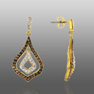 Chocolate Elegance Gold Over Bronze Brown & White Crystal Teardrop Dangle Earrings at Kmart.com