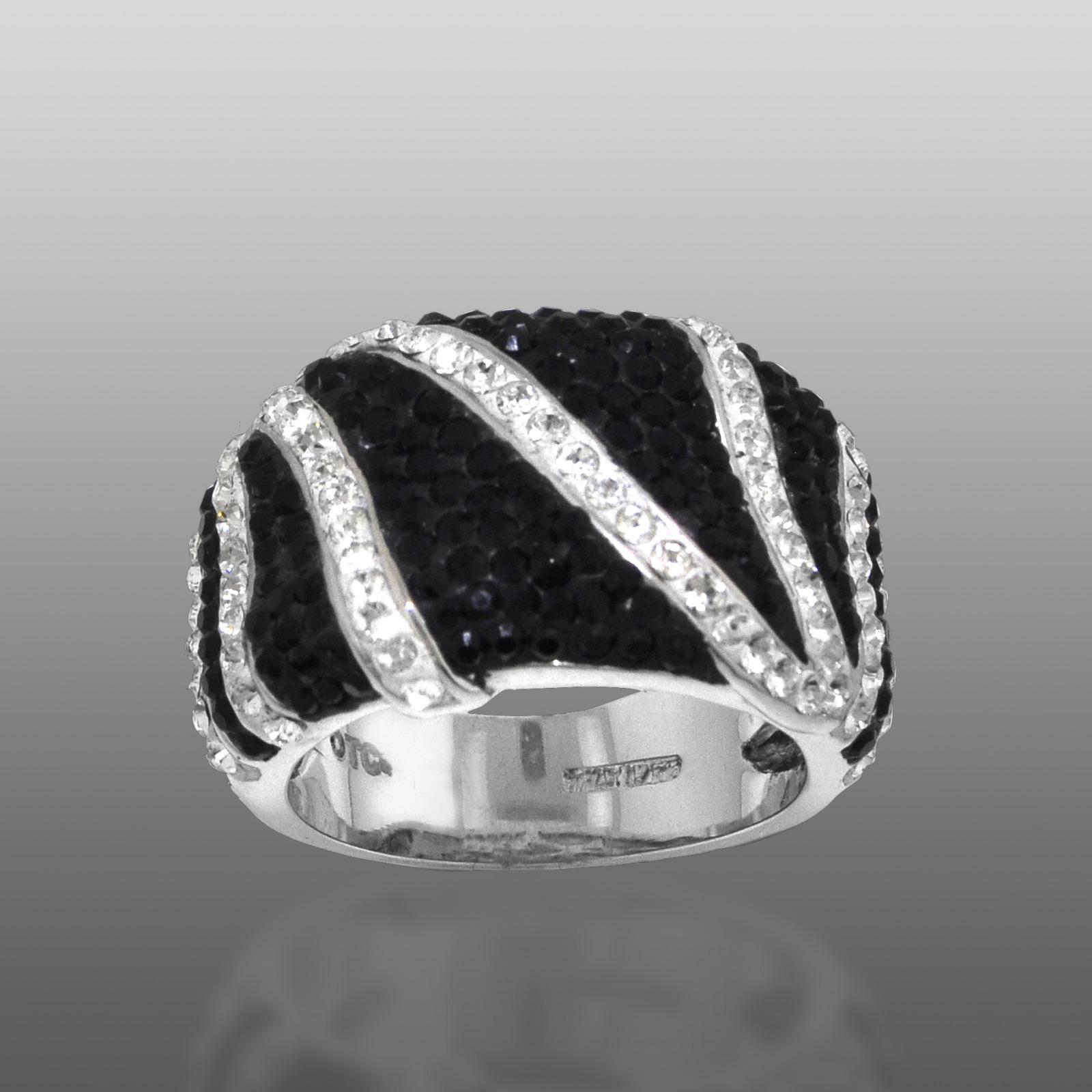 Shades Of Elegenace Platinum Over Bronze Black & White Zebra Ring
