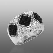 Shades Of Elegenace Platinum Over Bronze Black & White Geometric Ring at Kmart.com