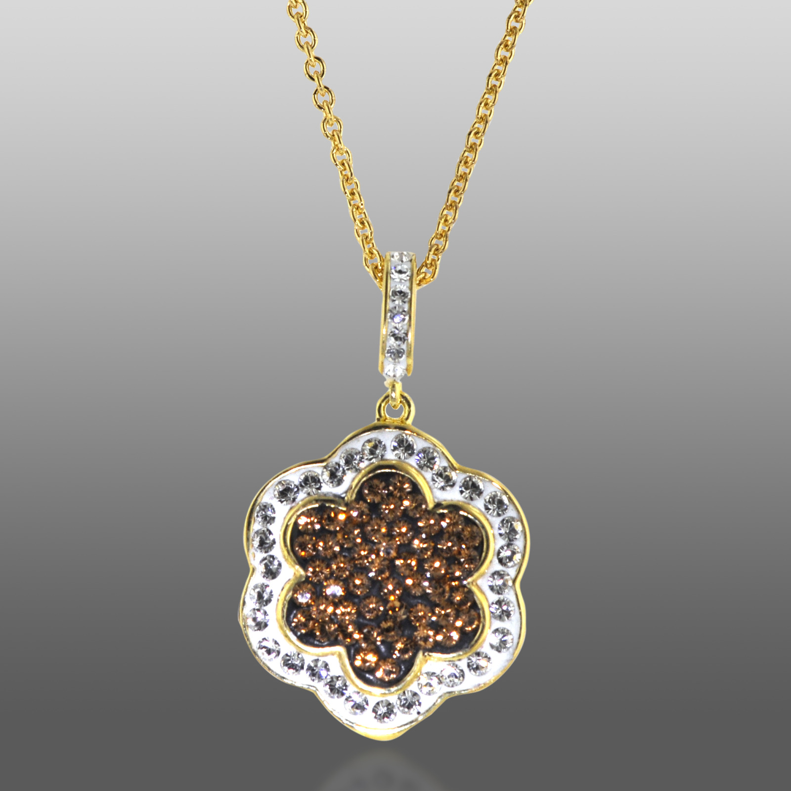 Gold Over Bronze Brown & White Crystal Clover
