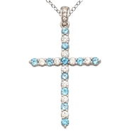 Sterling Silver Blue Topaz and CZ Cross Pendant at Sears.com
