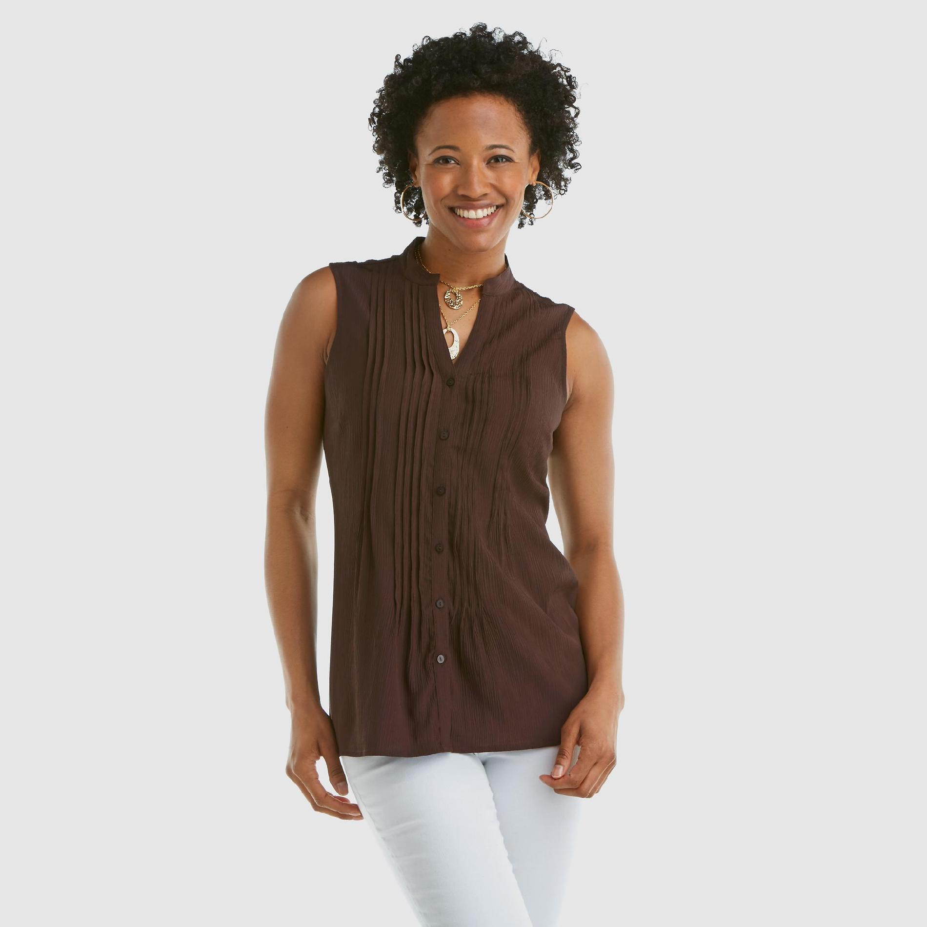Jaclyn Smith Women's Sleeveless Top - Pleated at Kmart.com