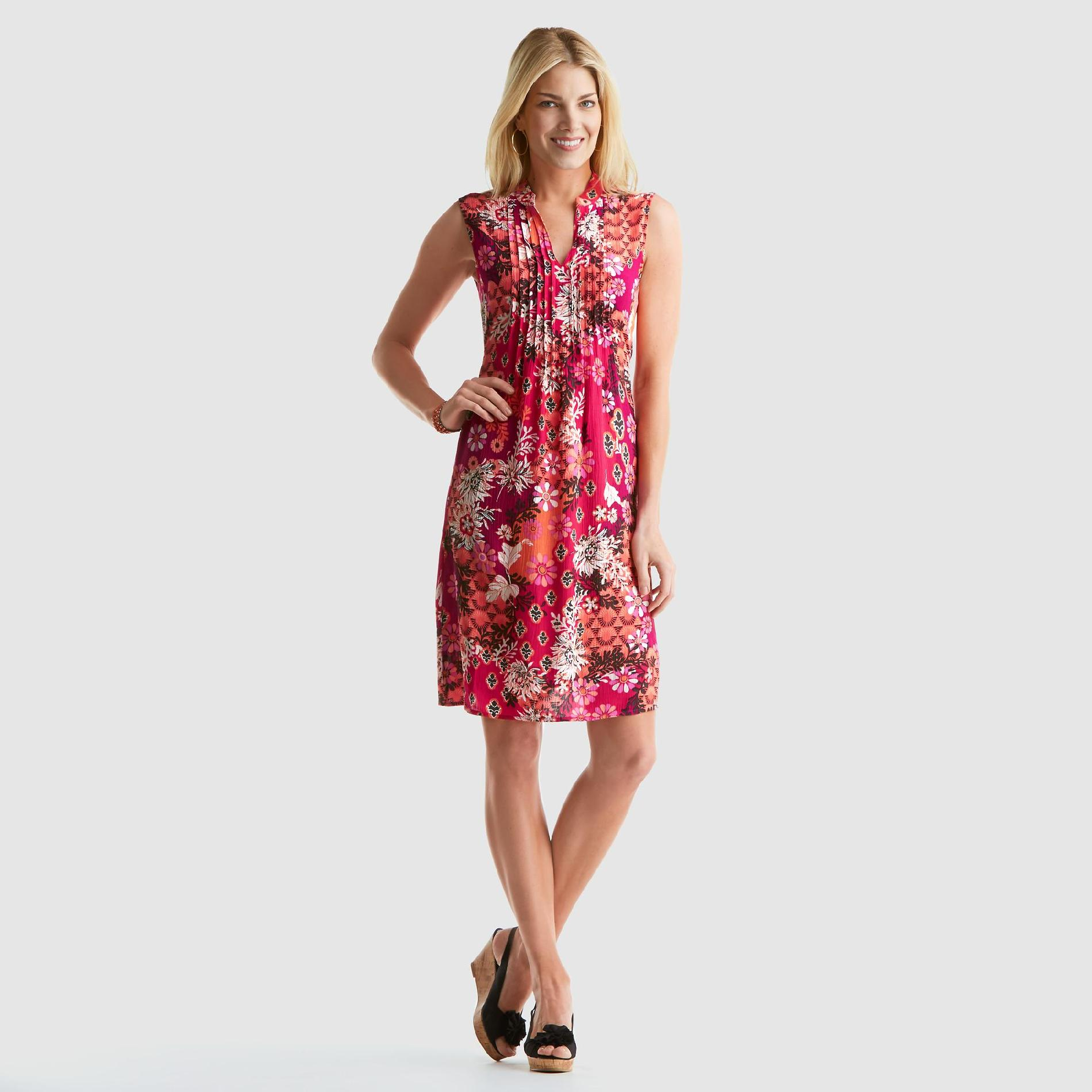 Jaclyn Smith Women's Pintuck Dress - Floral at Kmart.com