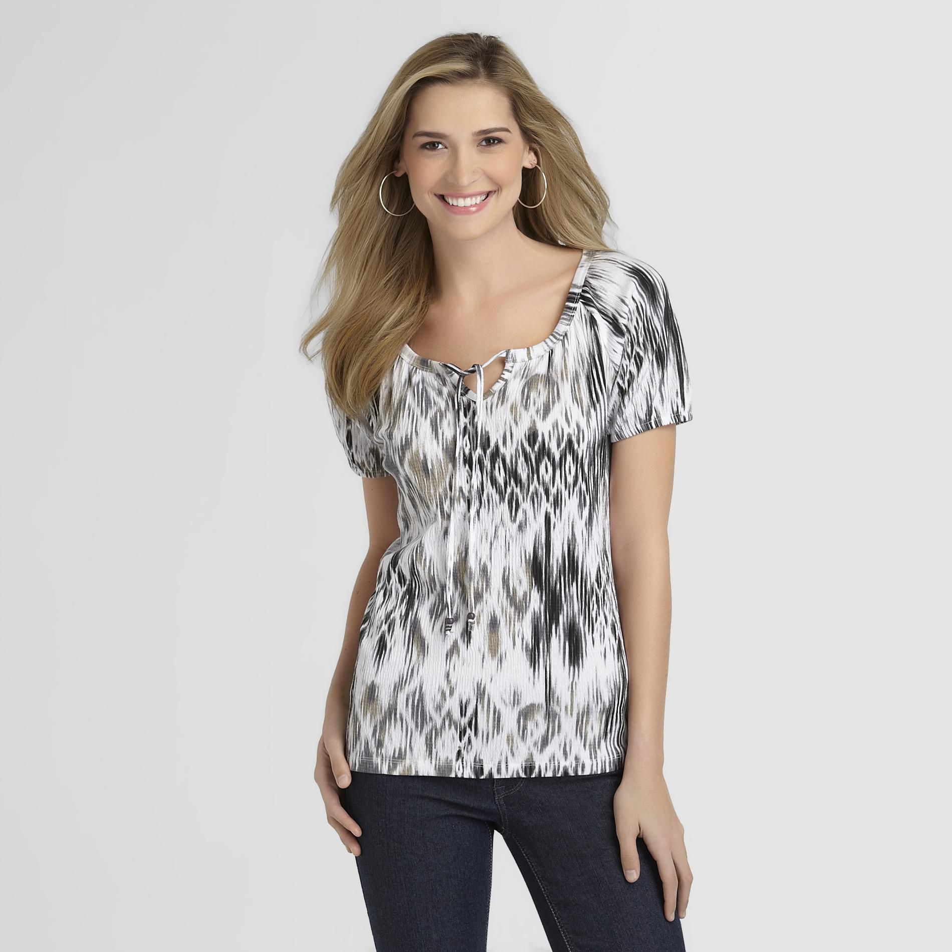 Basic Editions Women's Gauze Peasant Top Ikat - Basic Editions plus size,  plus size fashion plus size appare