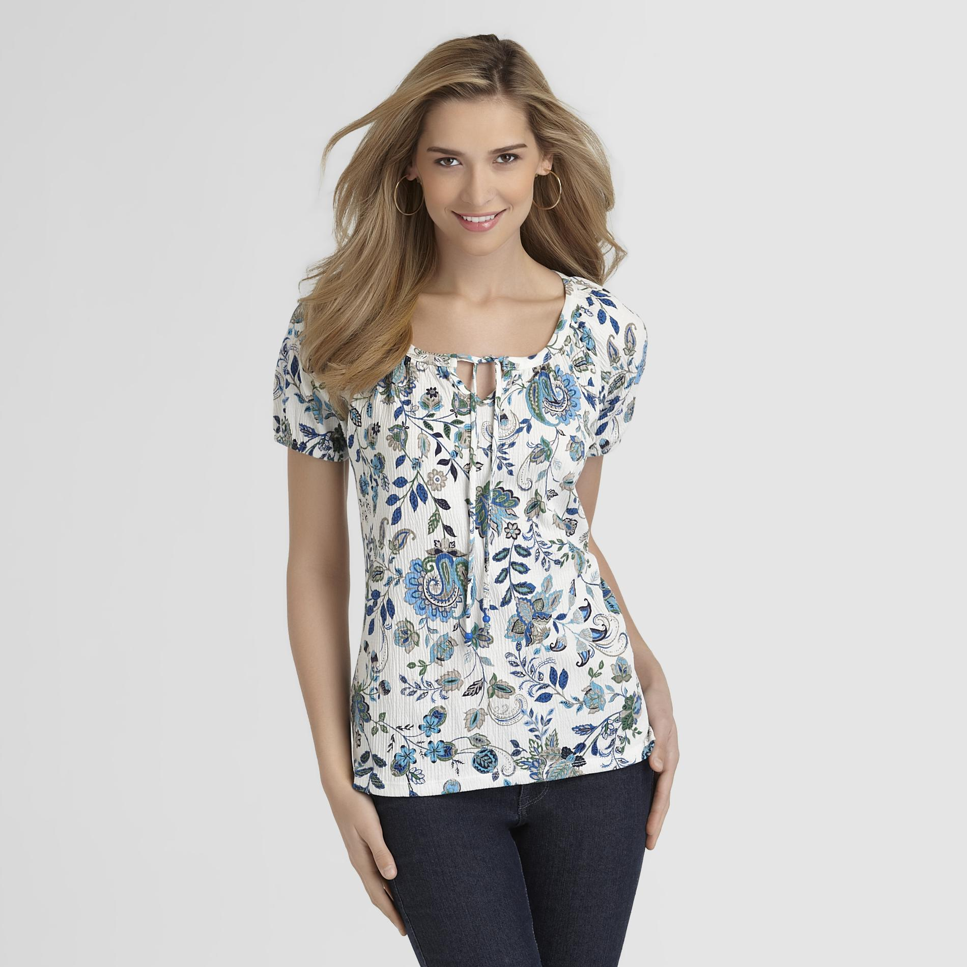 Basic Editions Women's Gauze Peasant Top - Floral Print at Kmart.com