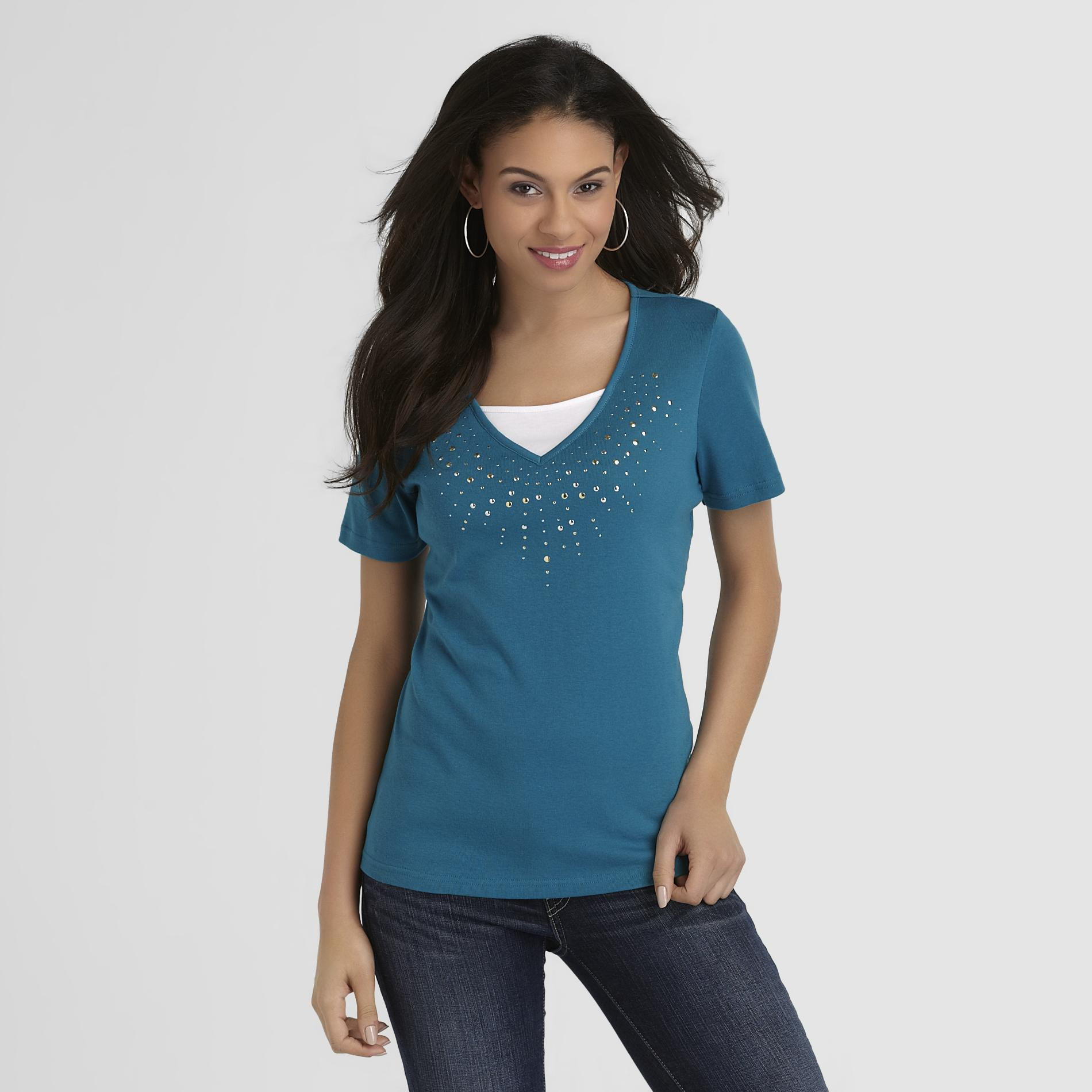 Basic Editions Women's Studded T-Shirt at Kmart.com