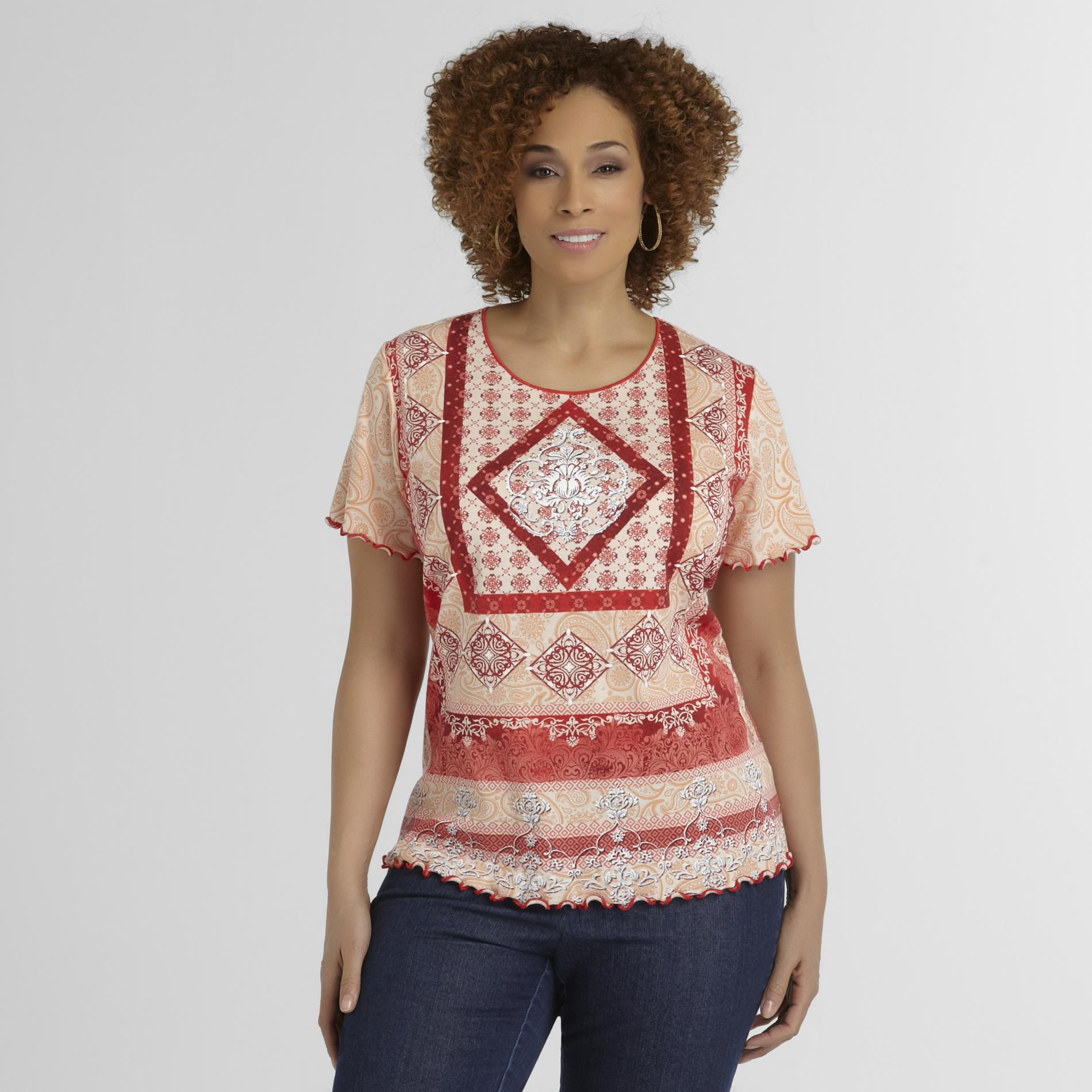 Basic Editions Women's Plus T-Shirt -  Scarf Print at Kmart.com