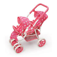 Badger Basket Reversible Double Doll Stroller - Pink Polka Dots at Kmart.com