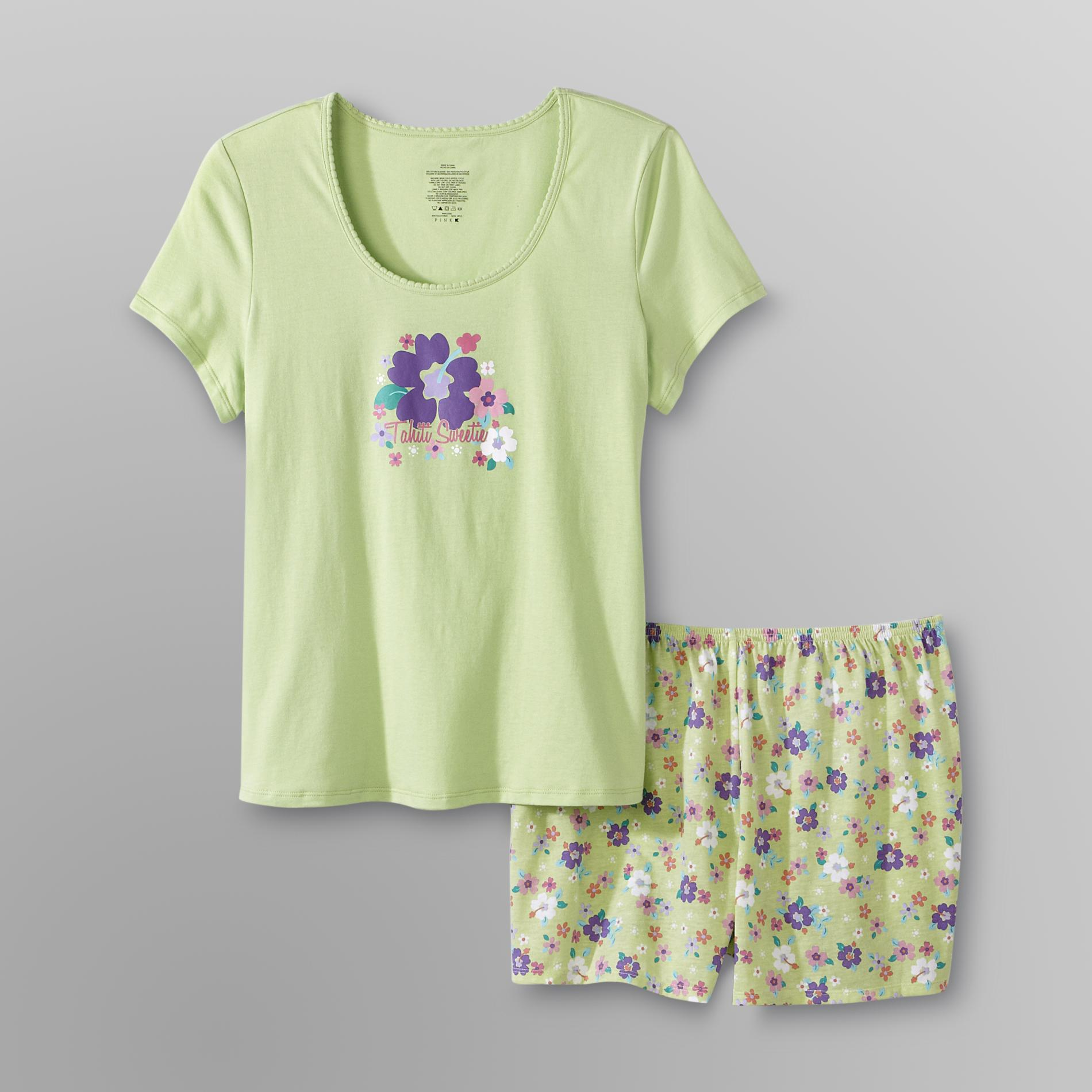 Pink K Women's T-Shirt & Shorts - Flowers at Kmart.com