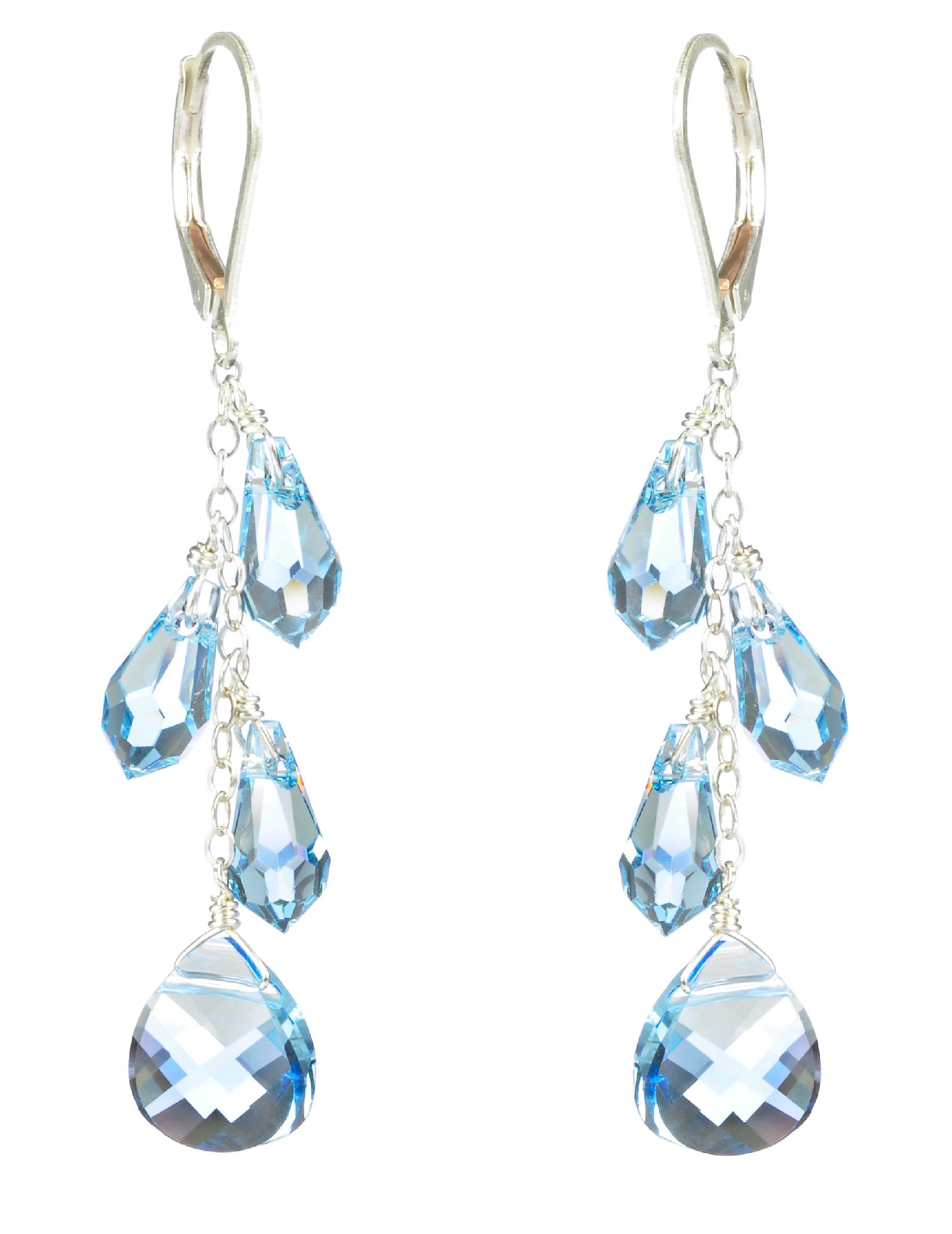 Lita Sterling Silver Swarovski Aquamarine Colored Teardrop Earrings