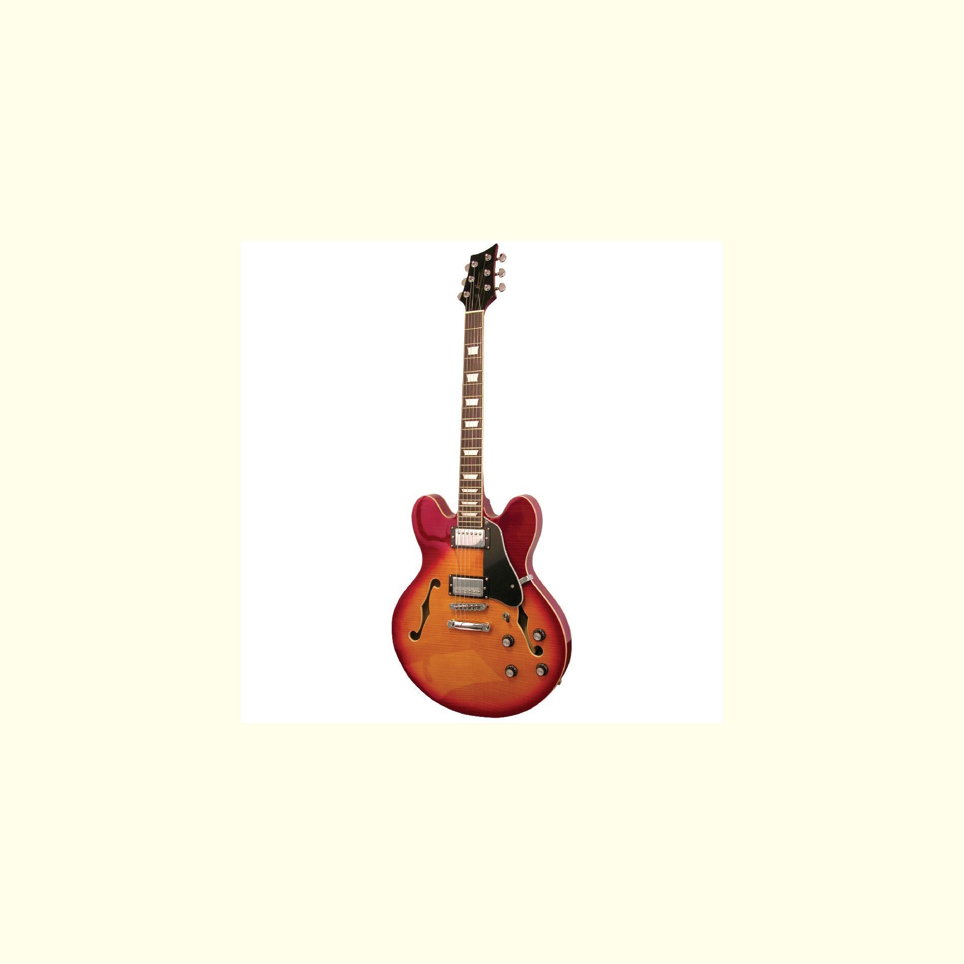 Kona Guitars Kona Flamed Semi Hollow Body Electric Guitar With Custim Fit Case