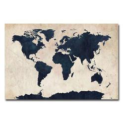 Trademark Fine Art Michael Tompsett 'World Map - Navy' Canvas Art at Kmart.com