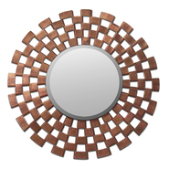 Leick Beveled Wooden 32 inch Round Mirror with Copper, Faux Leather Face at Kmart.com