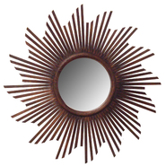 Leick Reclaimed Teak Sunburst 30 inch Round Mirror in Tea Brown Wash at Kmart.com