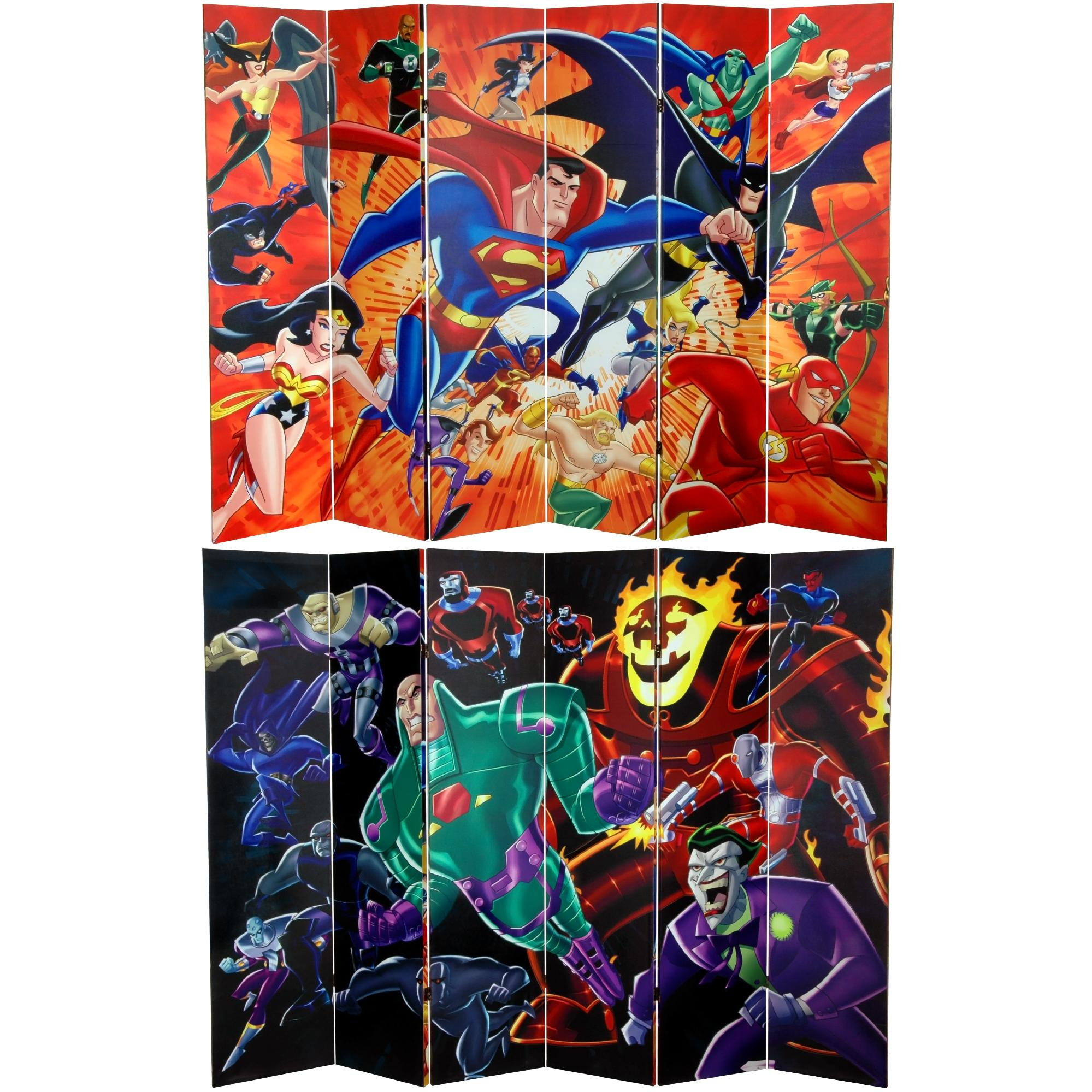 Oriental Furniture 6 ft. Tall Double Sided Justice League Heroes and Villains Canvas Room Divider PartNumber: 00838774000P KsnValue: 6125890 MfgPartNumber: CAN-WBJL-661