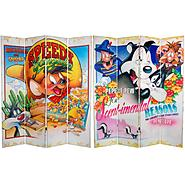 Oriental Furniture 6 ft. Tall Double Sided Speedy and Pepe Le Pew Canvas Room Divider at Kmart.com
