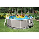 Swim Time Belize Round 48 in. Deep 6-in Top Rail Metal Wall Swimming Pool Package at mygofer.com