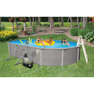 "Swim Time Belize 18 ft x 33 ft Oval  52"" Deep 6-in Top Rail Swimming Pool Package at Sears.com"