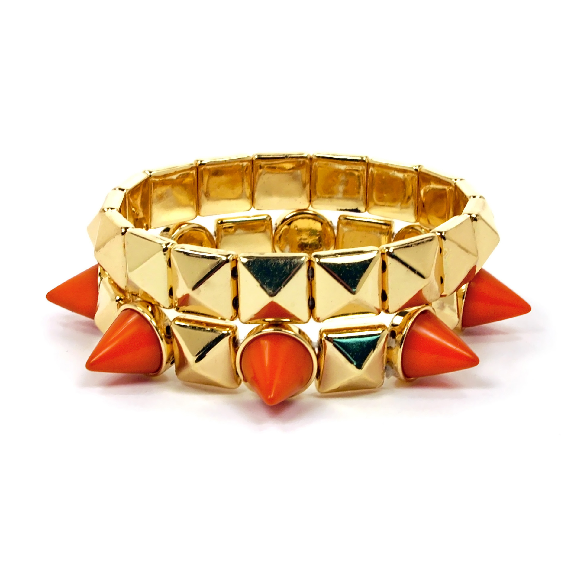 Junior's Geometric Spike Bracelet - Goldtone