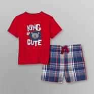 Little Wonders Infant Boy's Graphic T-Shirt & Plaid Shorts - King at Kmart.com